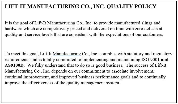 ISO Certification | Lift It Manufacturing | Lift-It® Manufacturing